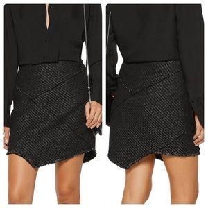 Maje Asymmetric Tweed Metallic Mini Skirt